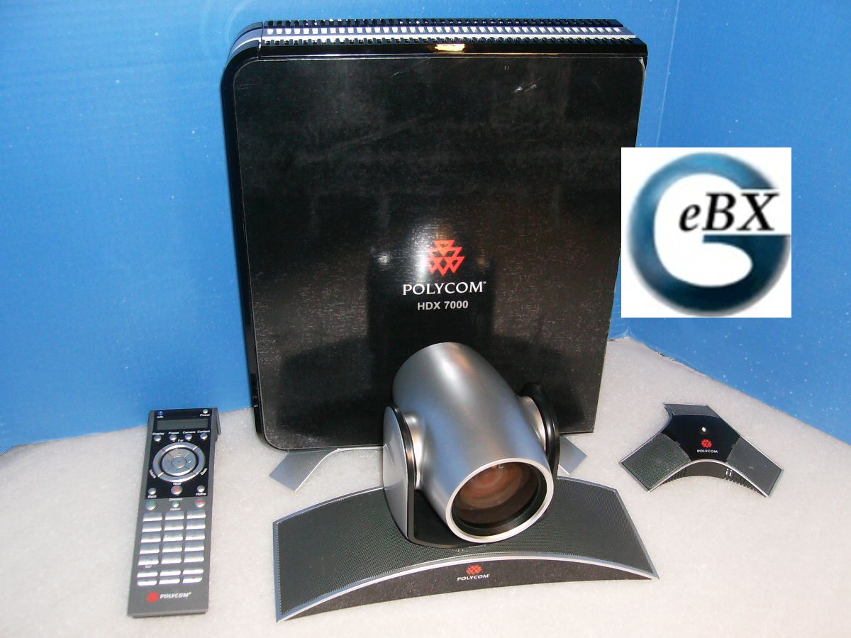 Larger view of Polycom HDX 7000 codec, mic array, and remote on sale for only $799.