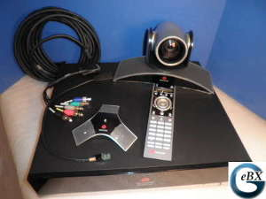 Click for large view of a HDX 9000 in a video conference call.