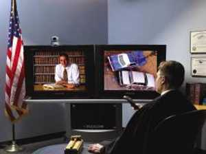 Click for large view of a Polycom VSX 7000e 2 monitor installation example.